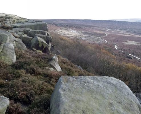 Burbage Edge. Grit stone and heather